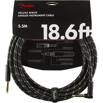 Fender 0990820079 Deluxe Series Instrument Cable, Straight/Angle, 18.6', Black Tweed