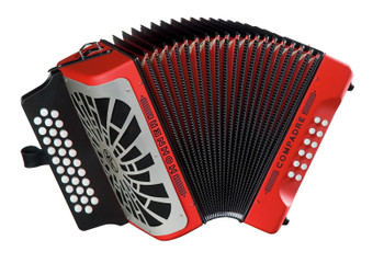 Hohner COER-N Compadre EAD Accordion, Red w/ Silver Grille