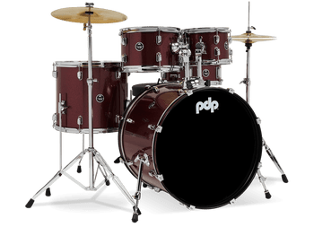 """PDP PDCE2215KTTR Centerstage 22"""" 5-Piece Complete, Ruby Red Sparkle"""