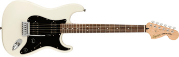 Squier 0378051505 Affinity Series Stratocaster HH, Laurel Fingerboard, Black Pickguard, Olympic White