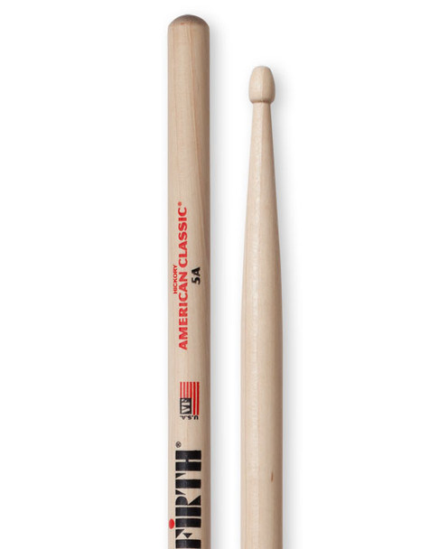 Vic Firth 5A American Classic Drumsticks, 5A, Wood Tip