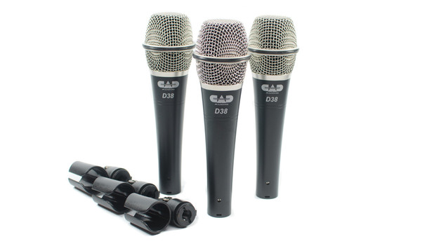 CAD Audio D38X3 Pack of 3 D38 Supercardioid Dynamic Instrument Microphone
