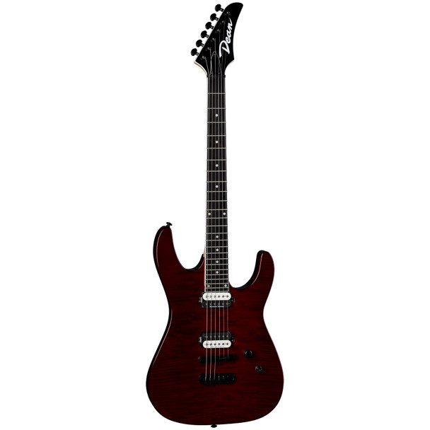 Dean MD24 FM TCH MD 24 Select Flame Top Electric Guitar, Trans Cherry