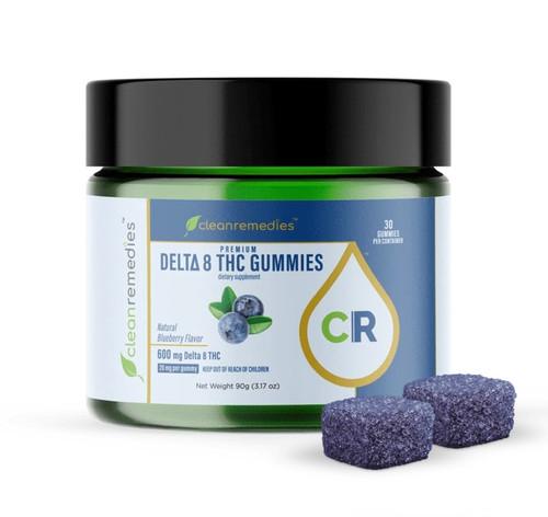 Organic Delta 8 Gummies - 600mg Blueberry
