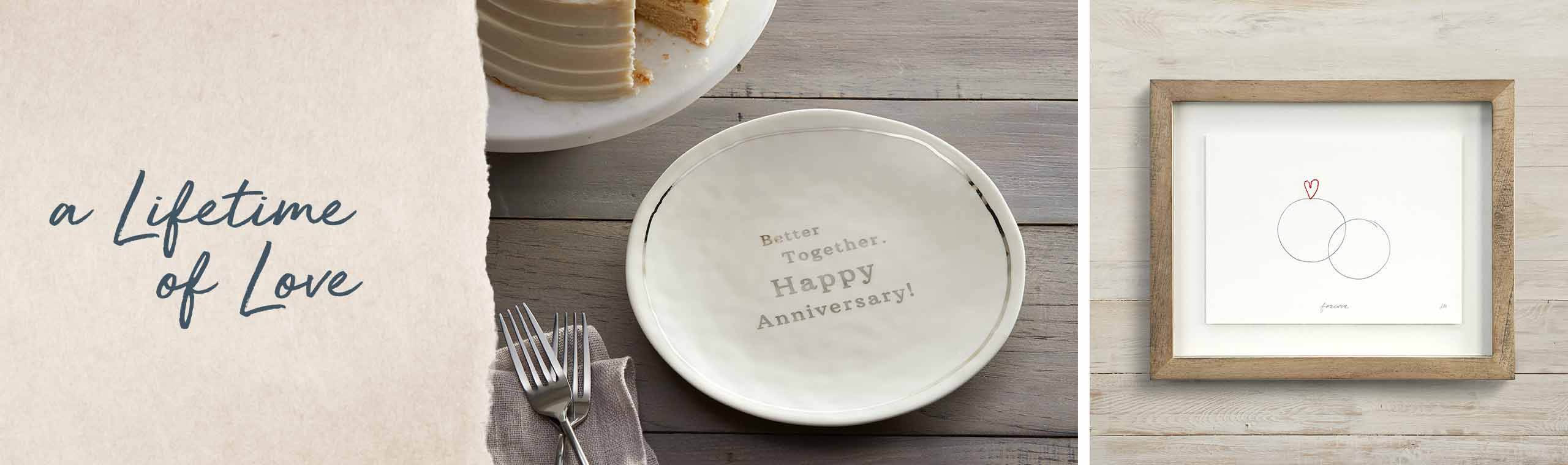 a Lifetime of Love. a ceramic plate celebrating 25th anniversary and a pictre frame with an illustration of two rings