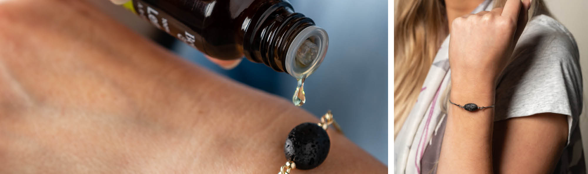 a woman pouring oil on her lava bead bracelet and another woman showing off that bracelet