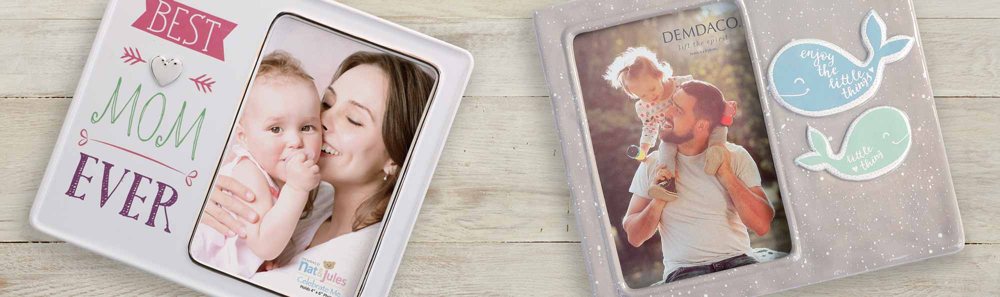 Frames with pictures of a mother and baby on a table next to another table with a simular frame but a child and grandma