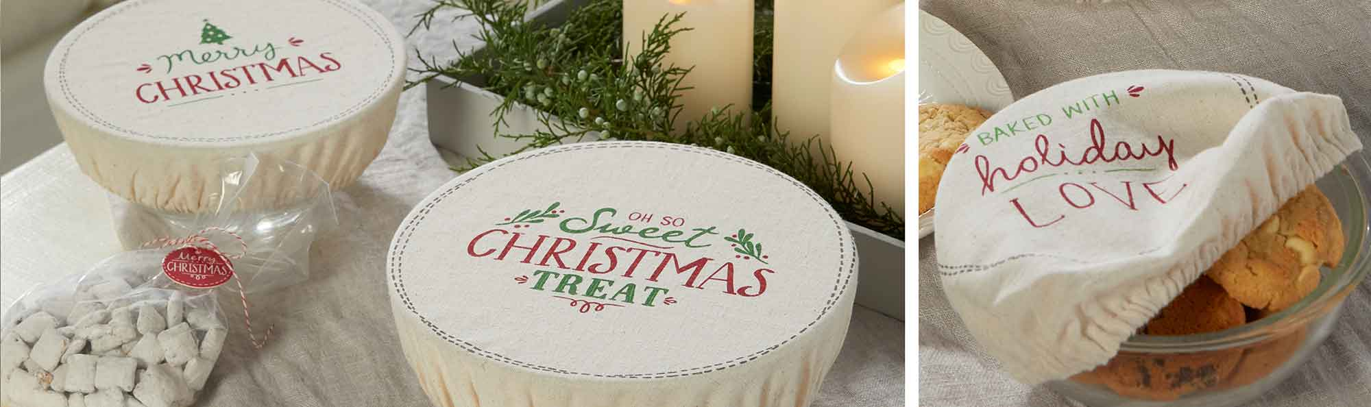 bowl covers covering left overs made of fabric and with christmas slogans