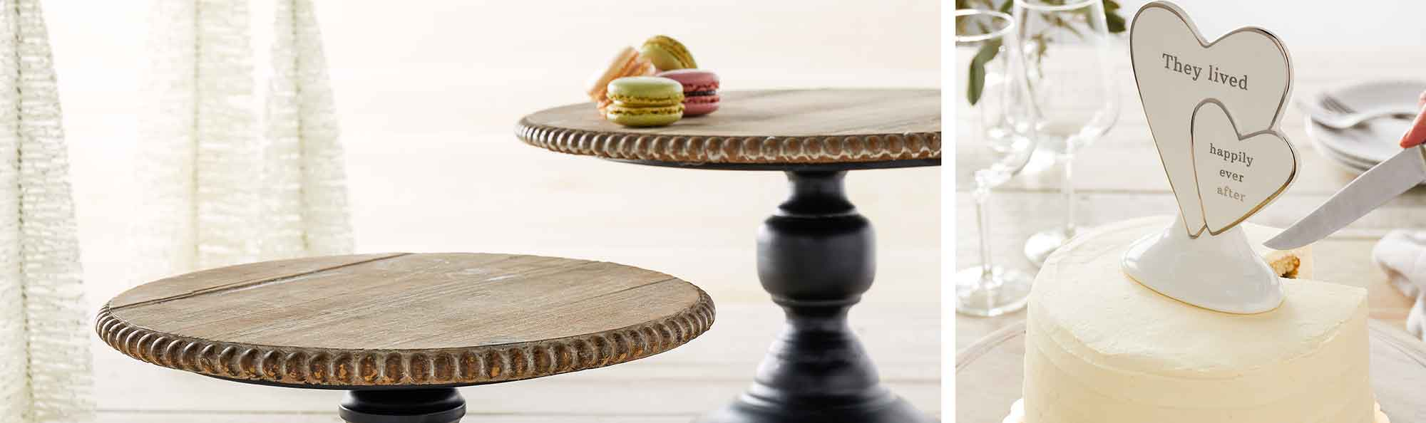 cake stand with little sandwiches on top and another photo of cake topper with hearts