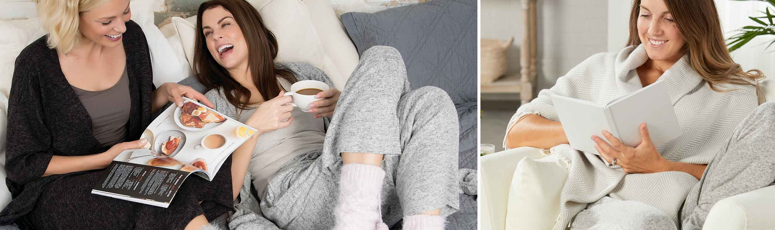 Be kind to you. Two girls drinking coffee on a couch laughing and reading a magazine together. Soft, silky pink pillow and eye mask.
