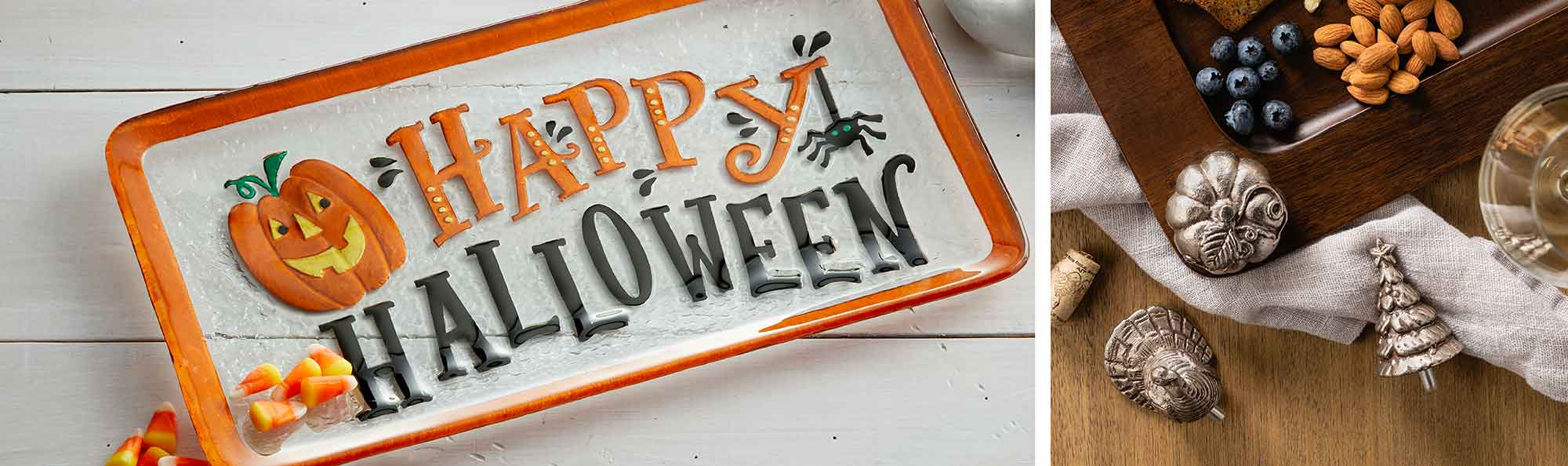 halloween themed fusion glass and metal pegs for a wooden tray
