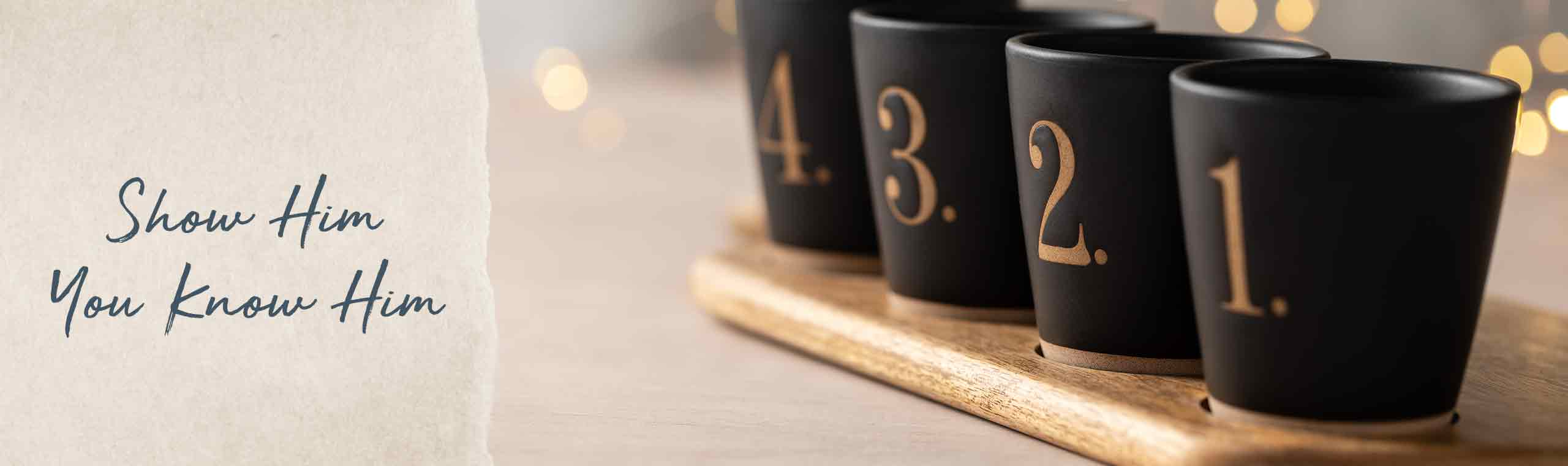 Show him you know him, coffe mugs with gold foil numbers printed on them