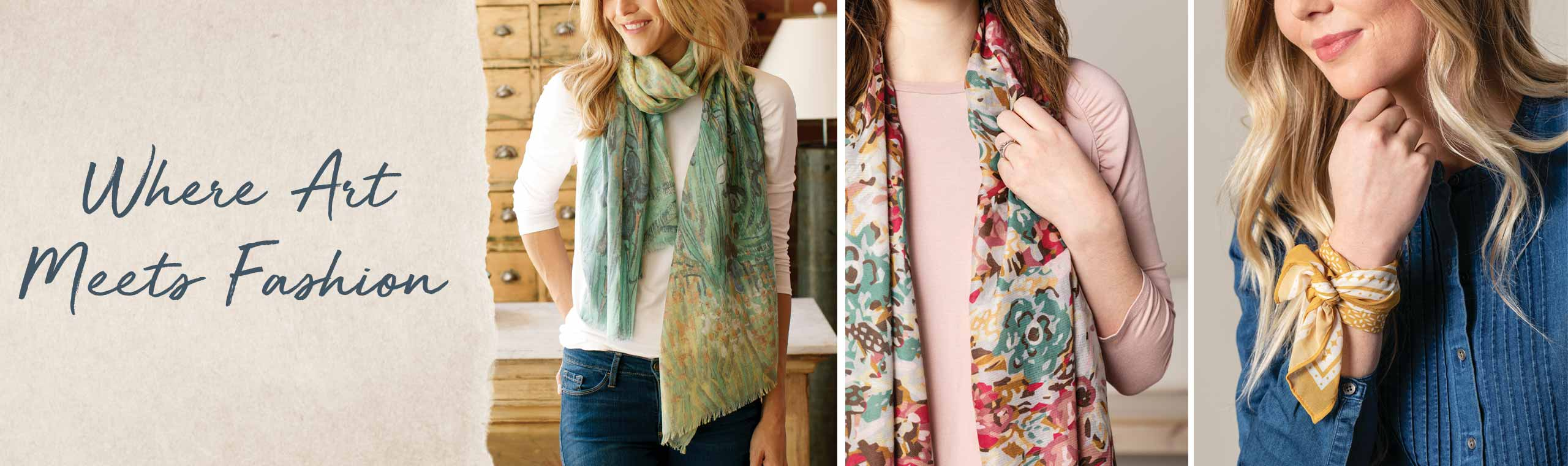 Where Art Meets Fashion, women wearing beautifully-printed colorful scarves around neck and wrist