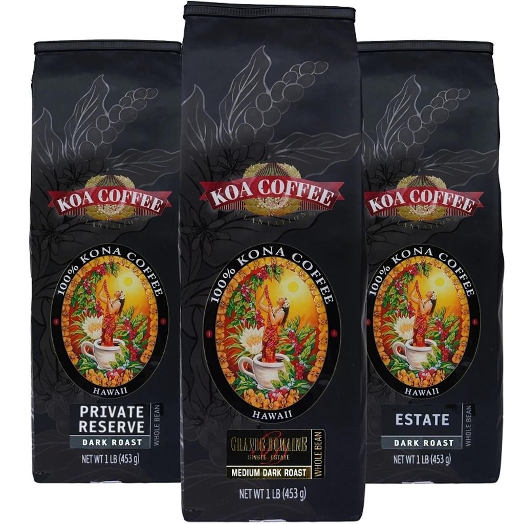 Kona Coffee Tripack Dark Roast Whole Bean Kona Coffee