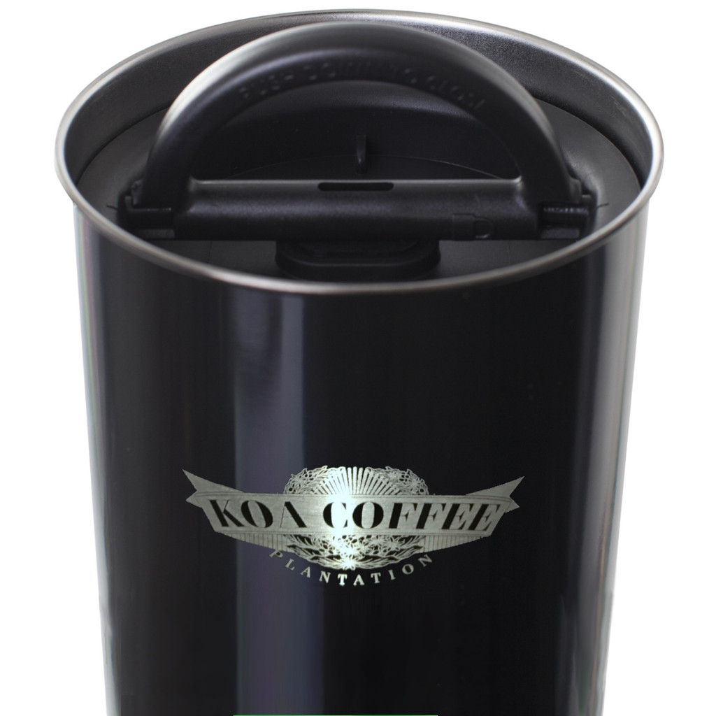 Top down view of black coffee storage canister showing airtight seal