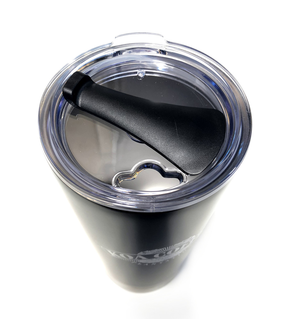 Top down view of black stainless steel tumbler with White koa coffee logo. Clear plastic lid shows opening.