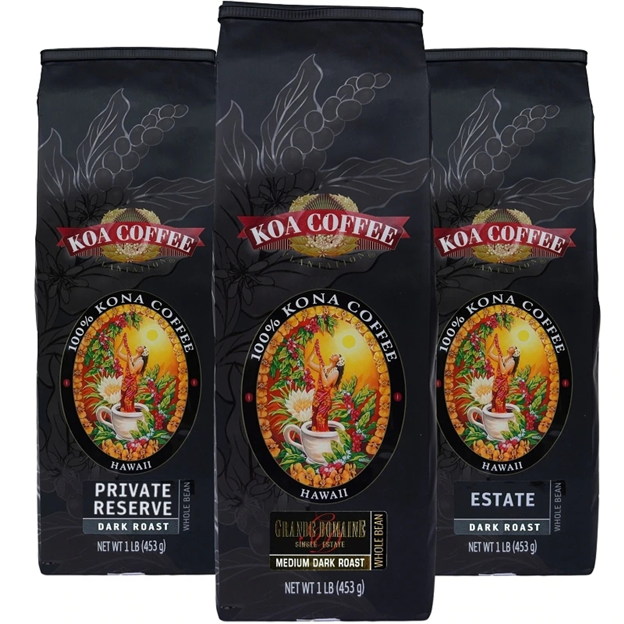 Koa Coffee Dark Roast Whole Bean Tri-Pack | Best Gifts for Coffee Lovers Marching North