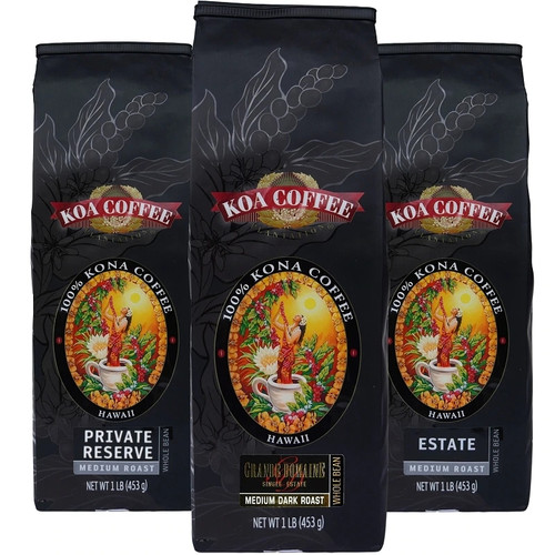 Kona Coffee Tripack Medium Roast Whole Bean Kona
