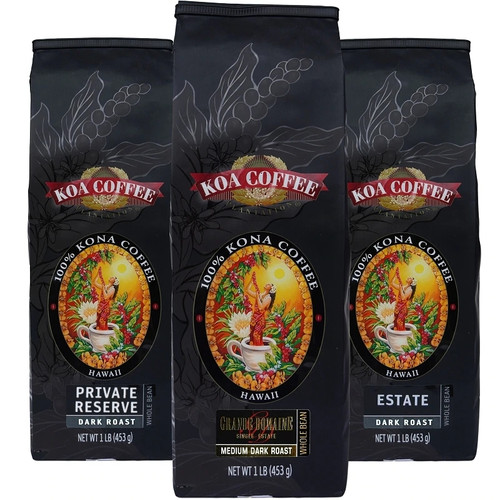 Kona Coffee Tripack Dark Roast Whole Bean Kona Coffee
