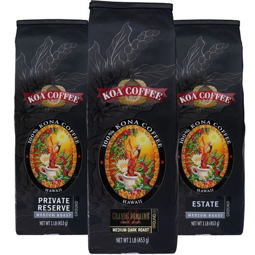 Kona Coffee Tripack Ground Kona Coffee Medium Roast