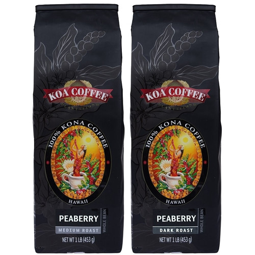 Kona Peaberry Set : Peaberry Kona Dark Roast and Peaberry Kona Medium Roast