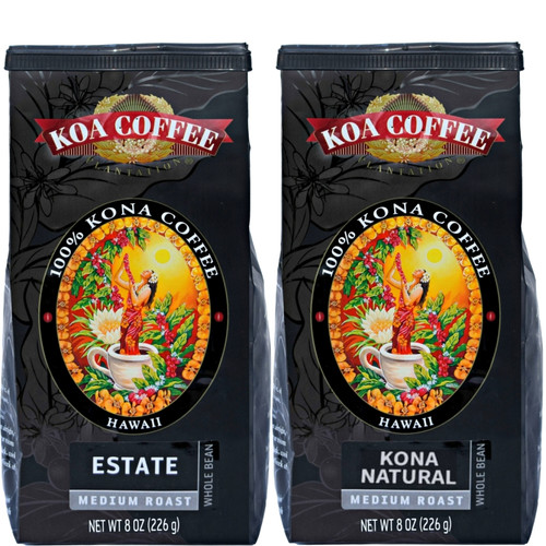 Estate Kona Coffee and Kona Natural - Whole Bean Kona Coffee Duo