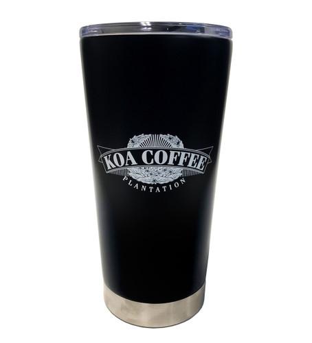 Front view of black stainless steel tumbler with White koa coffee logo.