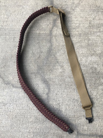 QUICK SHIP - ADJUSTABLE TWO POINT PARACORD SLING (MAROON/COYOTE WITH COYOTE NYLON AND GROVTECHS)