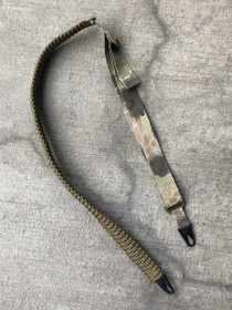 QUICK SHIP - ADJUSTABLE TWO POINT PARACORD SLING (COYOTE BROWN/OD GREEN WITH HIGHLANDER NYLON AND HK CLIPS)