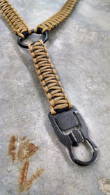 Black Inside, Coyote Brown Outside Paracord Single Point Sling with Mash Hook
