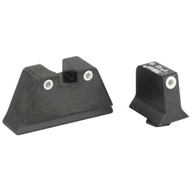 TRIJICON BRIGHT AND TOUGH NIGHT SIGHTS SUPPRESSOR SERIES - FOR GLOCK PISTOLS - WHITE FRONT / WHITE REAR WITH GREEN LAMPS