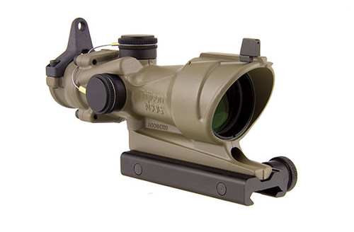 TRIJICON ACOG 4X32 SCOPE WITH AMBER CENTER ILLUMINATION FOR M4A1 - INCLUDES FLAT TOP ADAPTER, BACKUP IRON SIGHTS AND DUST COVER  - CERAKOTE FDE