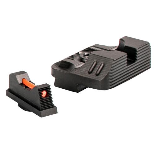 ZEV TECH SIGHT SET - .215 FIBER OPTIC FRONT SIGHT / REAR COMBAT V3 BLACK