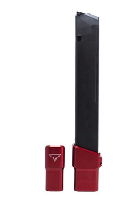 TARAN TACTICAL INNOVATIONS ULTRALIGHT BASE PAD FOR GLOCK PCC 9MM 30/31/33 ROUND OEM MAGAZINE - RED