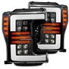 AlphaRex 17-19 Ford F-250 SD NOVA LED Proj Headlights Plank Style Matte Blk w/Activ Light/Seq Signal