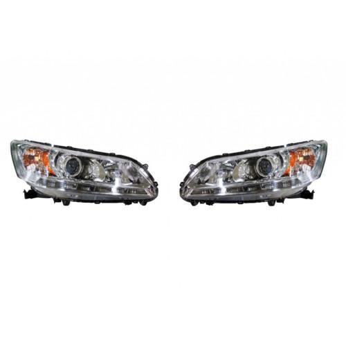 For Honda Accord Sedan Headlight Unit 2013 2014 Pair Driver and Passenger Side Set w/ LED DRL SE Model Halogen Chrome Replaces HO2505162 (CLX-M1-316-1167PXUSN1)