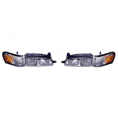 For Toyota Corolla 1993-1997 Headlight Cornering Lens Diamond Chrome Pair Driver and Passenger Side TO2505107