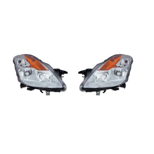 For Nissan Altima Coupe 2008-2009 Headlight Assembly Unit Type Chrome Bezel Pair Driver and Passenger Side (Chrome)