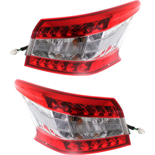 For: Nissan SENTRA 13-15 Tail Light & Inner Tail Light LED CLEAR Lens Black BEZEL SET Passenger Side Replaces NI2811