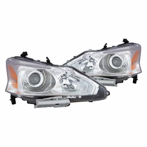 For Nissan Altima Sedan 2013 Headlight Assembly Unit Chrome Bezel Pair Driver and Passenger Side (Chrome)
