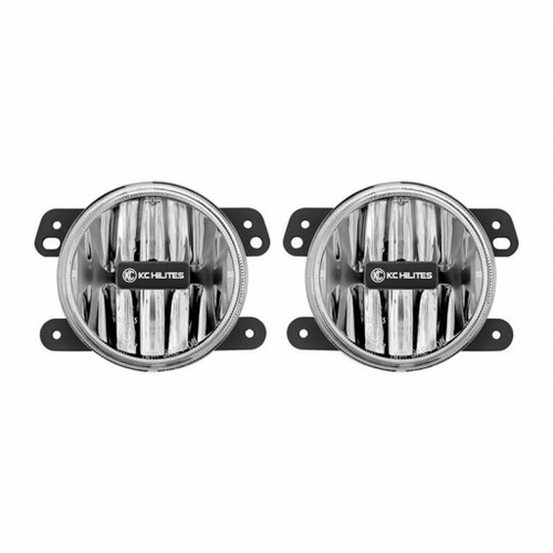 KC HiLiTES 10-18 Jeep JK 4in. Gravity G4 LED Light 10w SAE/ECE Fog Beam Clear (Pair Pack System)