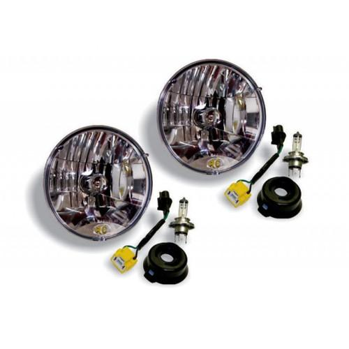 KC HiLiTES 07-18 Jeep JK H4 Headlight Conversion Kit - DOT Apprv./Incl. H13 to H4 Connectors (Pair)