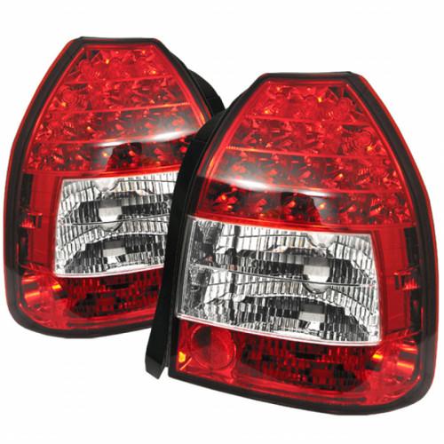 Spyder For Honda Civic 3Dr 96-00 LED Tail Lights Red Clear ALT-YD-HC96-3D-LED-RC   (TLX-spy5004949-CL360A70)