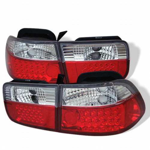 Spyder For Honda Civic 2Dr 96-00 LED Tail Lights Red Clear ALT-YD-HC96-2D-LED-RC | (TLX-spy5004857-CL360A70)