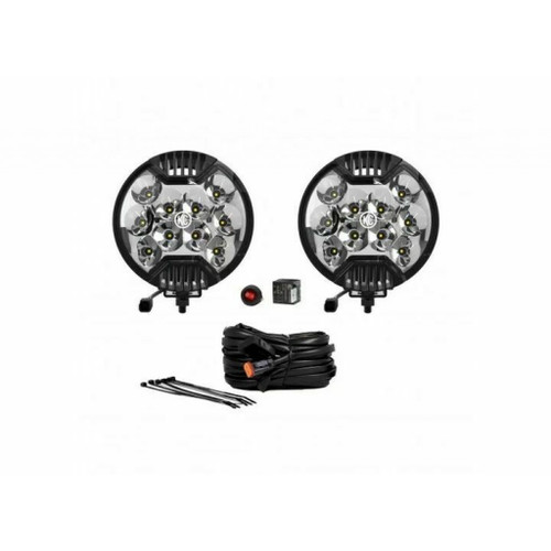 KC Hilites For SlimLite 6in. LED Light 50w Spot Beam (Pair Pack System) - Black | (TLX-kcl100-CL360A70)