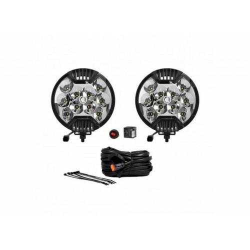 KC HiLiTES SlimLite 6in. LED Light 50w Spot Beam (Pair Pack System) - Blck