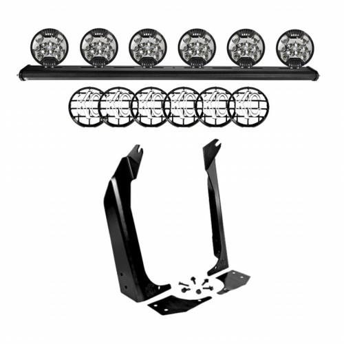 KC Hilites For Jeep Wrangler 1997-2006 SlimLite LED Lights - Black | 50in. Overhead Cross Bar Kit w/6 (TLX-kcl97060-CL360A70)