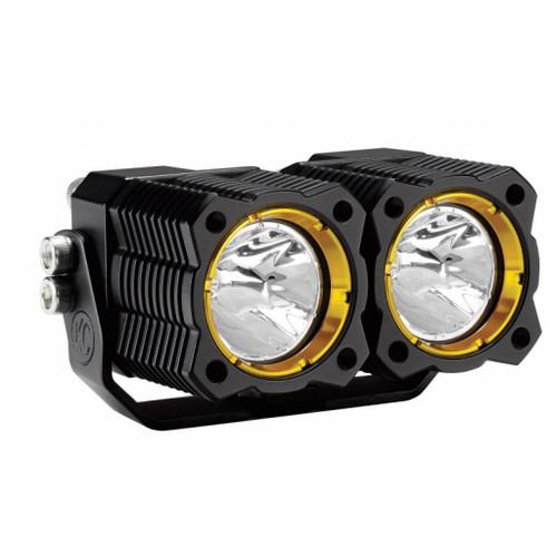 KC HiLiTES FLEX Dual LED Light 20w Spread Beam w/o Wiring Harness (Single) - Black