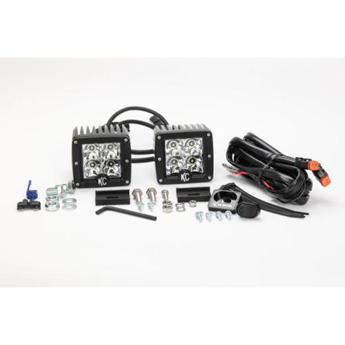KC HiLiTES C-Series 3in. C3 LED Light 12w Spot Beam (Pair Pack System) - Black