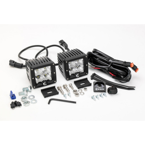 KC HiLiTES C-Series 3in. C3 LED Light 12w Flood Beam (Pair Pack System) - Black